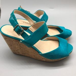 Talbots teal patent leather suede cork wedges
